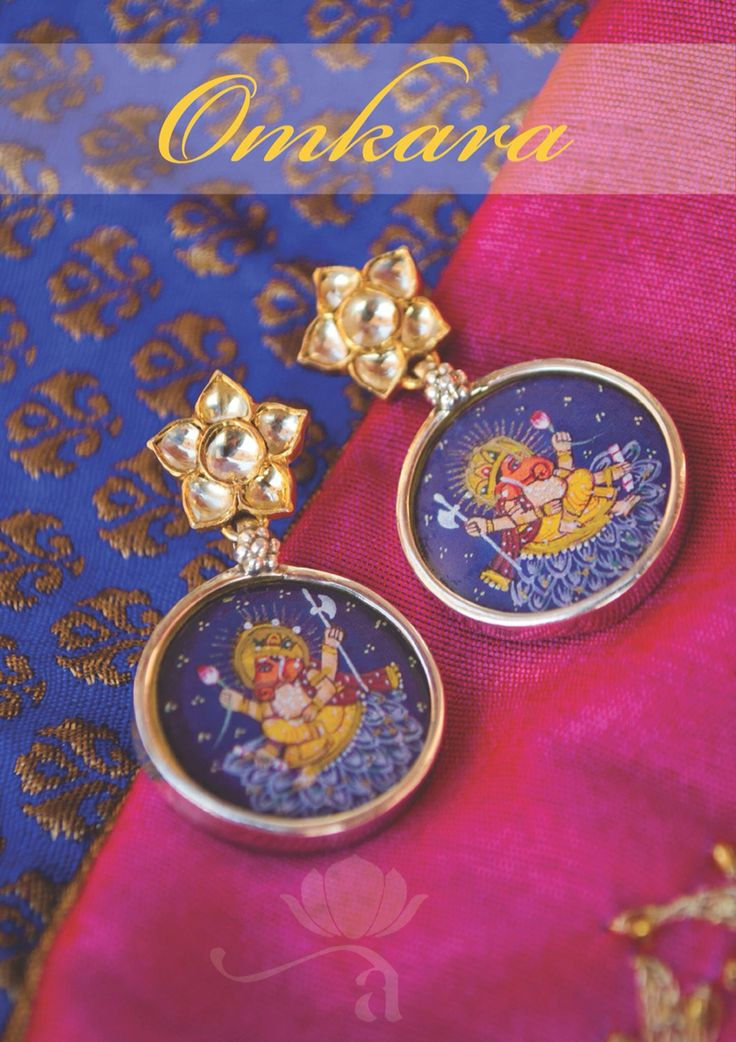 Omkara from Aaraa by Avabtika: Ethereal and Tasteful to the core, these Lord Ganesh miniature painting earrings are handcrafted in 92.5 Sterling Silver with gold plated kundan studs. Made in India.