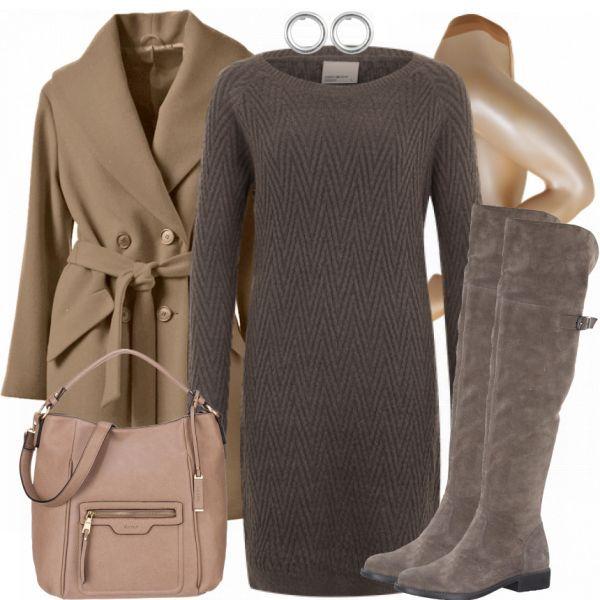 Dieses Outfit eignet sich sowohl für einen Tag auf der Arbeit als auch für schicke Anlässe in der Freizeit. Der Fokus liegt auf dem braunen Strickkleid von Vero Moda. Dazu passen der braune Mantel von Ashley Brooke, die braunen Overknees von Tamaris und die braune Handtasche. Die Strumpfhose und die Ohrringe runden den Look ab.