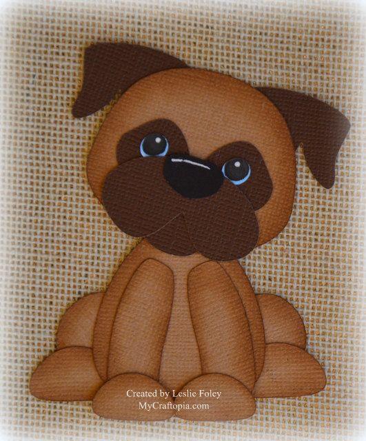 Sitting Cute Dog Premade Scrapbooking Embellishment by MyCraftopia