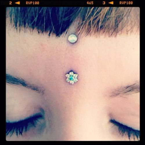"""Vertical bridge, or """"third eye"""", with Industrial Strength surface bar, water opal flower and cabochon."""