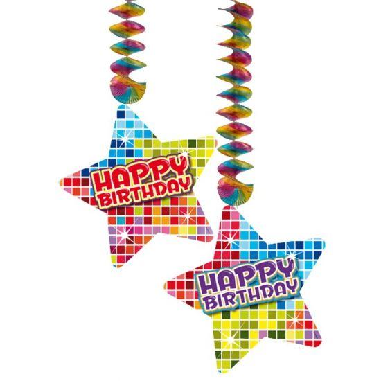 Hangdecoratie in de vorm van sterretjes met de tekst: Happy Birthday. De decoratie is verpakt per 2 stuks en is ongeveer 13,3 x 16,5 cm groot.