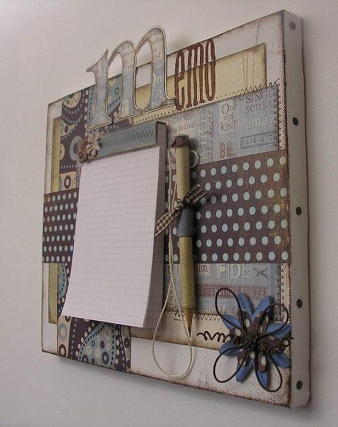 Altered Canvas Memo Center...like the 'studs' around the edges!
