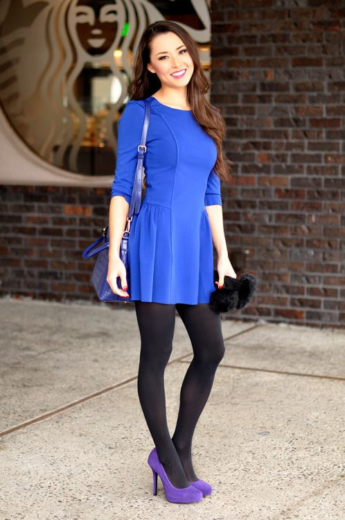 Tights and Pantyhose Fashion Inspiration. Different shoes and purse for sure. Love the shape of the dress and tights though!