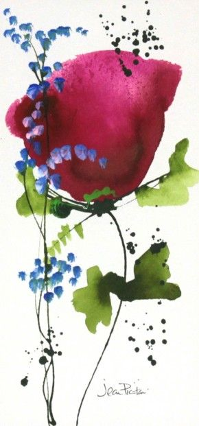 Jean Picton, Poppy Splash IV, Original Watercolour | Contemporary Art
