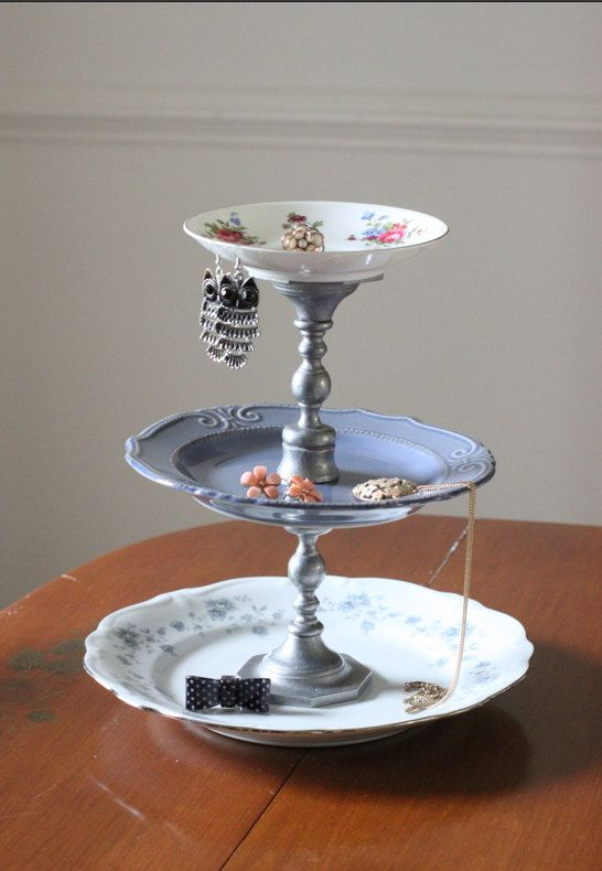 3 Tiered Plate Jewelry Stand. You can also do it with just a saucer and teacup. So cute!