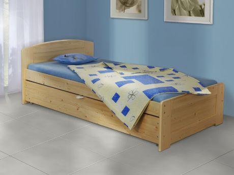 Rozkládací postel Duo Marta z masivního smrku. Vyrábí se v rozměru 90 x 200 cm (po rozložení 180 x 200 cm). / Marta Duo sofa bed made of solid spruce wood. It's produced in size 90 x 200 cm (unfolded 180 x 200 cm). #sofa #bed #storage #rozkladaci #postel #jmp #solid #wood #masiv #spruce #smrk