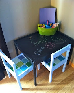 Ikea latt table re do with chalkboard top and mod podge for Ikea daycare furniture