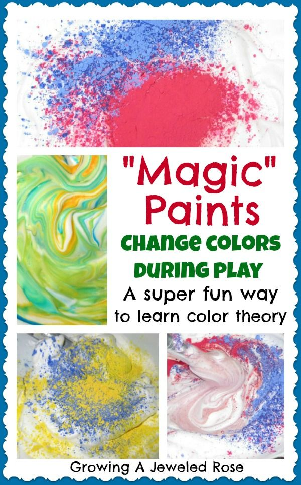 Magic Paints that change colors during play!  A fun way to teach color theory to kids!