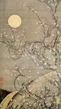 White Plum Blossoms in Moonlight, Ito Jakuchu (1716-1800), Edo period. Japanese hanging scroll painting.