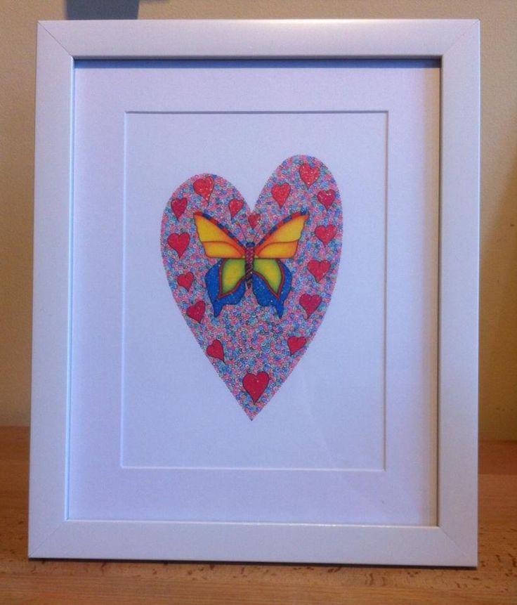 framed butterfly heart by Emmas Art