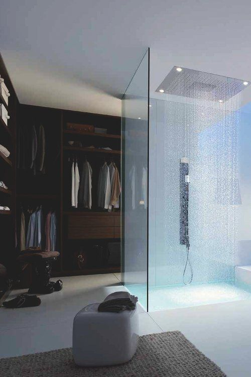Mans closet with rainfall shower