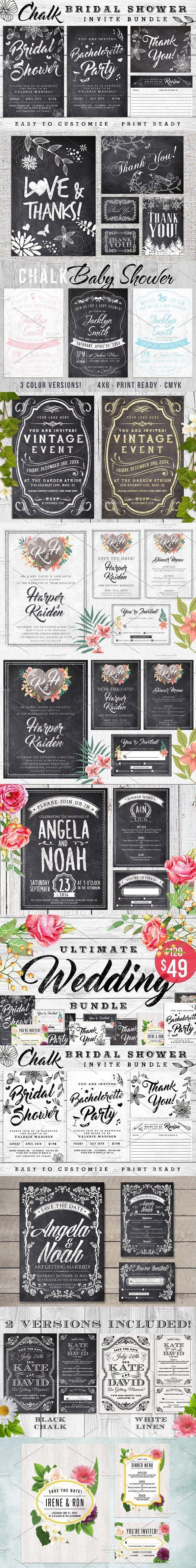 Massive Chalk Wedding Bundle 60% off. Wedding Card Templates