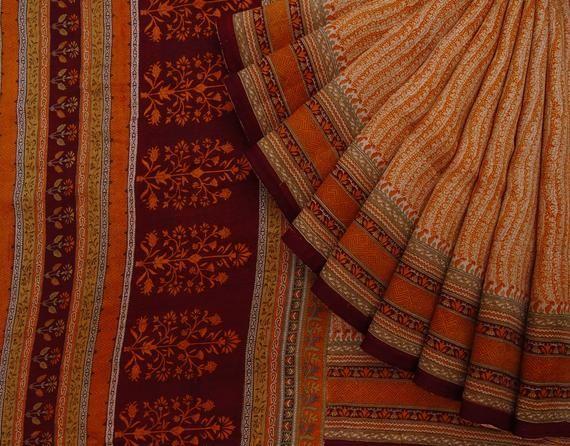 Indian Vintage Ethnic Sari Nice Printed Pure Silk Beige Saree Craft Fabric 5 Yard VPS53524 6