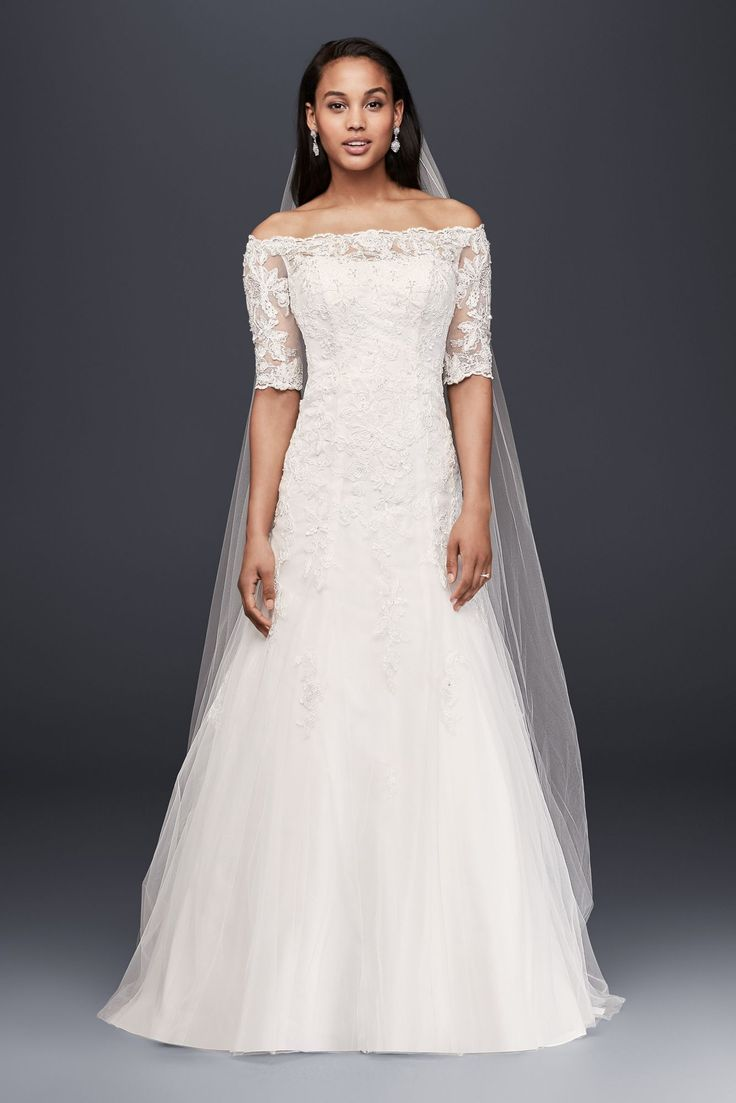 Extra Length Off the Shoulder 4XLWG3734 Style Lace Wedding Dress with 3/4 Sleeves