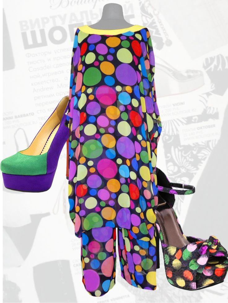 59$ Шифоновый костюм для полных женщин: платье с брюками в крупный цветной яркий горох Артикул 481, р50-64 Женские костюмы большие размеры  Женские костюмы с брюками большие размеры  Летний брючный костюм большие размеры  Нарядные женские брючные костюмы большие размеры Шифоновые брючные летние костюмы  большие размеры