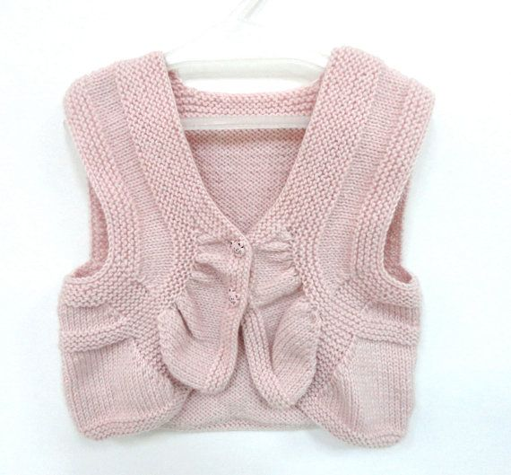 pink baby vest ,sweather ,cat baby sweather ,knit baby girl vest ın pink with cat buttons - 18-24 Months