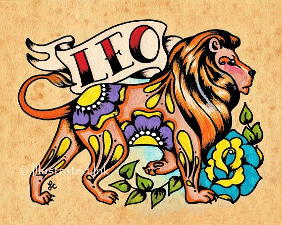 Old School Tattoo Zodiac Art LEO Lion Astrology by illustratedink
