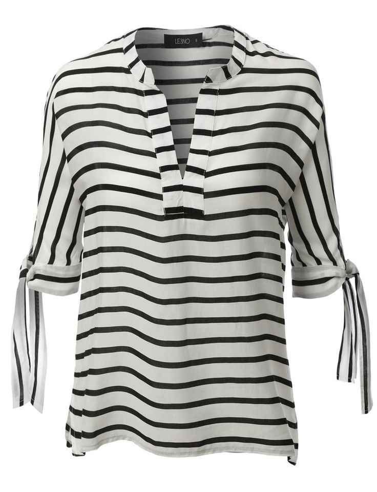 LE3NO Womens Loose Short Sleeve Notch Collar Striped Blouse Top