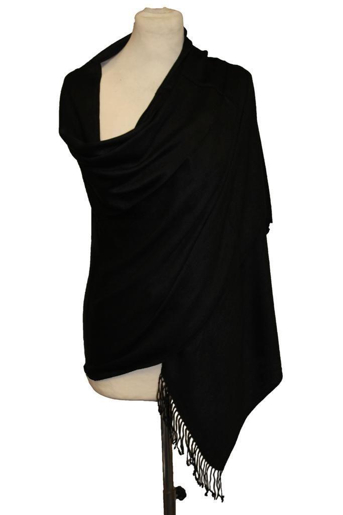 Women's Fashion Long Soft Black 100% Cashmere Pashmina Wrap Shawl Scarf