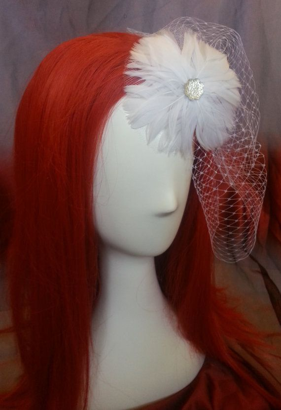 White blusher birdcage bridal veil with feather flower and crystal accents, hair clip fastener #design #gifts