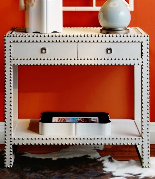 Superb White Grasscloth U0026 Studded Side Console Table. Marc Console | Vanillawood