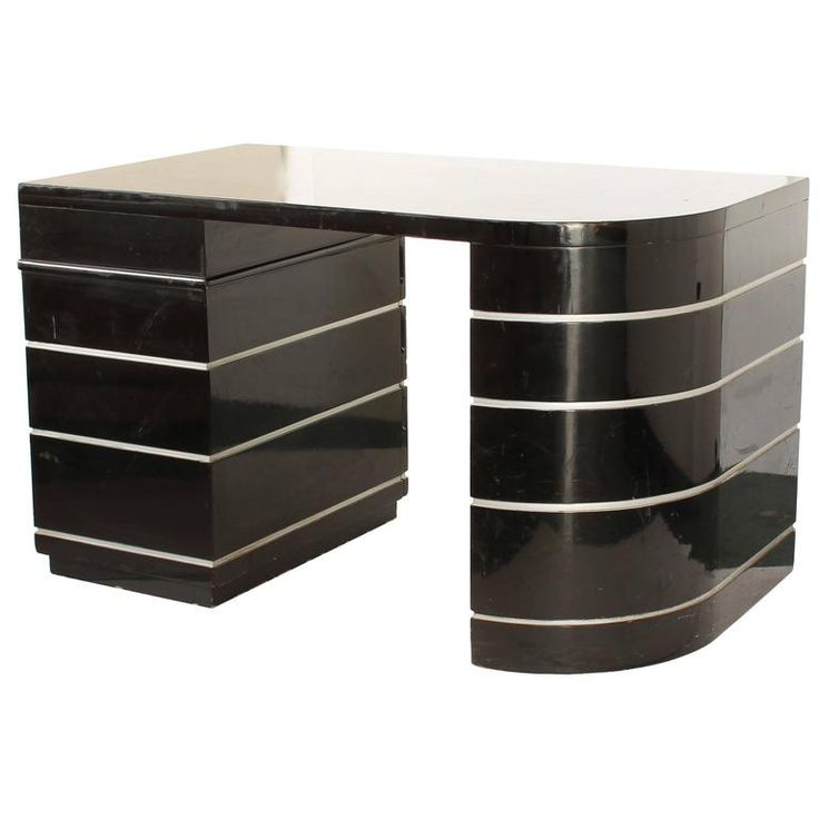 Paul Frankl Art Deco Curved Desk Black Lacquer Silver Grooves with Drawers 1