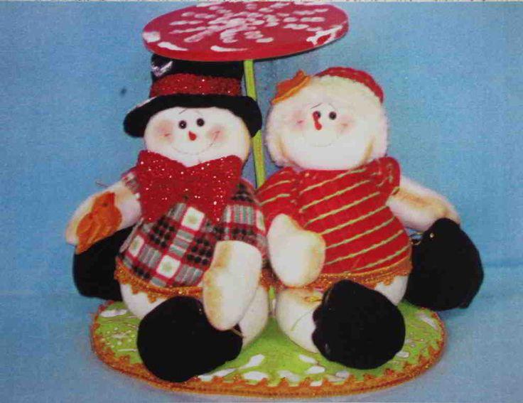 Descargar: Pareja de muñecos de nieve panetoneros   EcoArtesanias