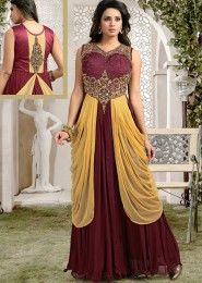Party Wear Georgette Maroon Kasab Work Gown
