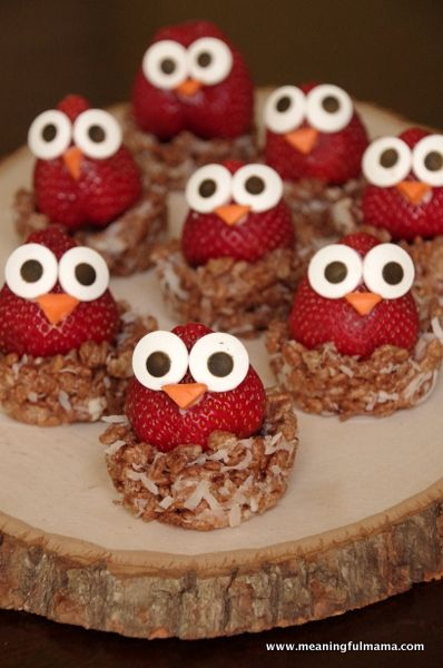 OMG! we need to have these at the shower.. sooo cute. Owl stuffed strawberries!