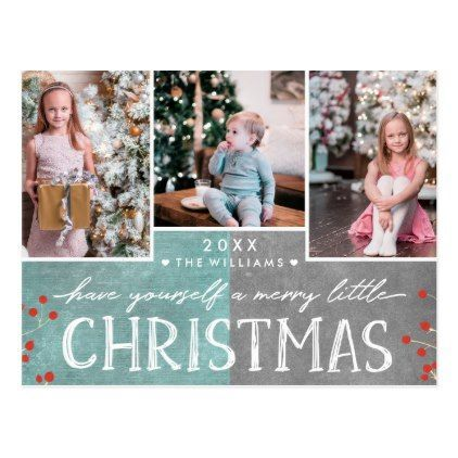 A Merry Little Christmas Family Photo Collage Postcard - holidays diy custom design cyo holiday family