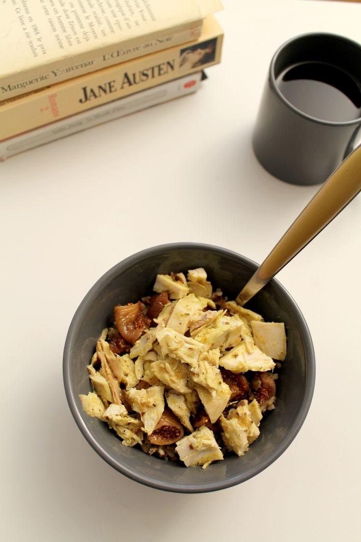 Salade complète poulet, figues, quinoa, lentilles - Miss Blemish