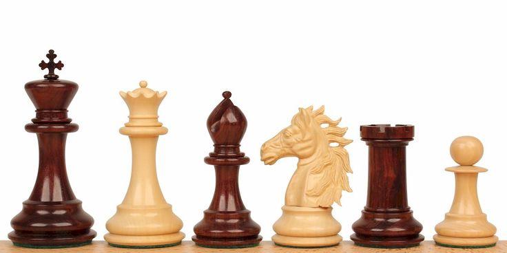 "Alexander's Stallion Staunton Chess Set in Red Sandalwood & Boxwood - 4.4"" King - The Chess Store"