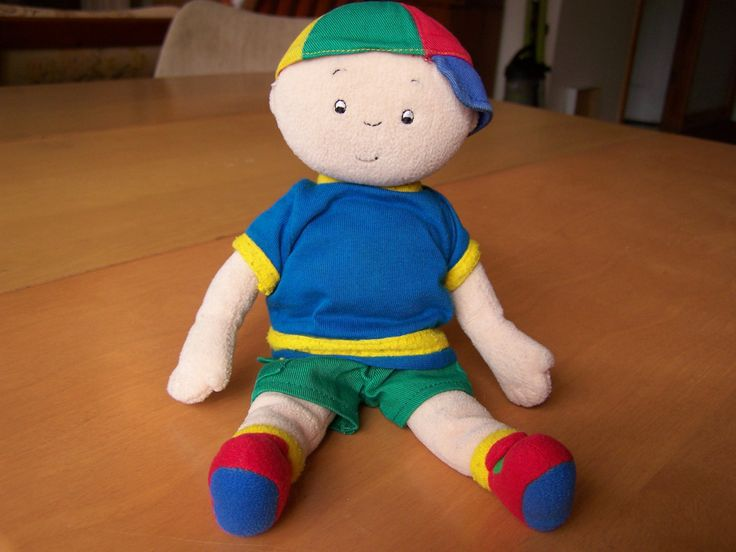 "Caillou 10"" soft plush doll - green shorts, blue shirt & hat by RetrowareExchange on Etsy"