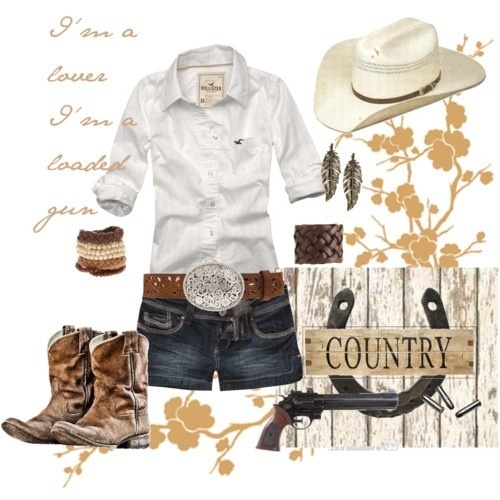 Love how they say this is country with a holster shirt and that belt buckle is not what you call a country belt buckle. The outfit is cute tho