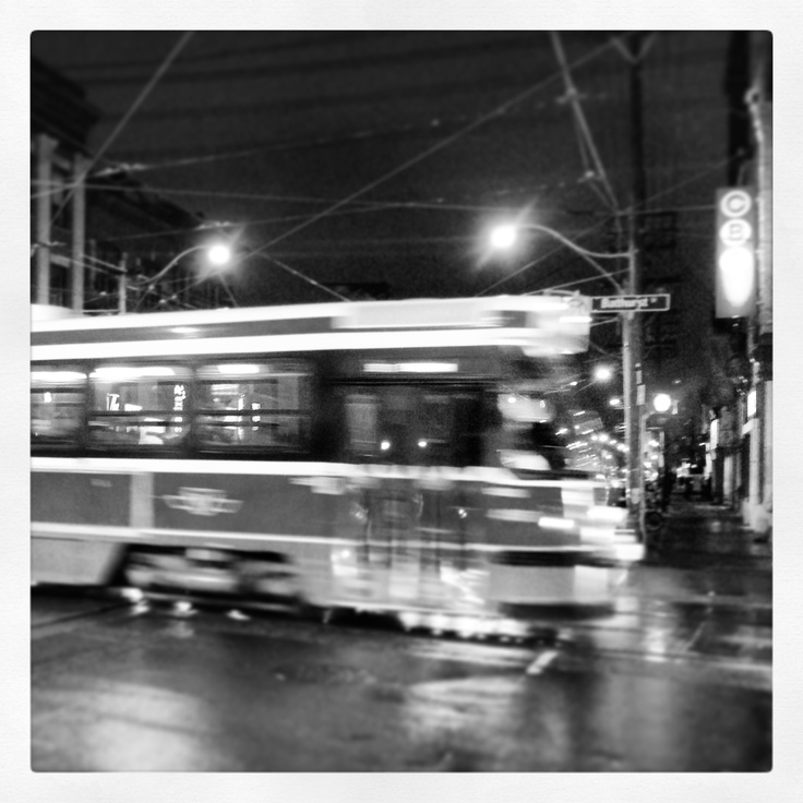 TTC street car heading south in Bathurst at queen