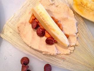 Dessert Tamales! Peanut butter banana, made w/ coconut oil instead of lard.