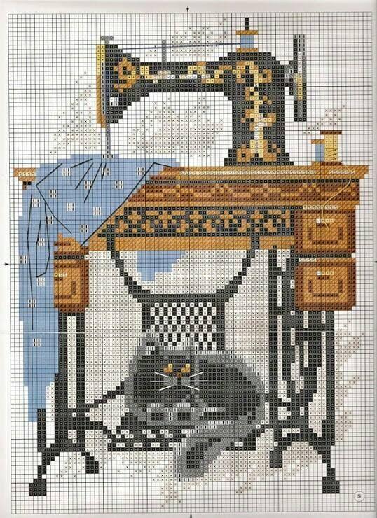 σχέδια με ραπτομηχανές για κέντημα / cross stitch patterns of sewing machines