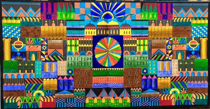 Dream Cities. A Funfair. Coloured by Prue.