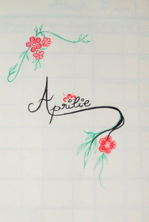 Design Aprilie Bullet Journal bianca ionel blog
