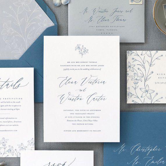 Elena Suite French Blue Wedding Invitation Floral Invite Etsy Floral Wedding Invitations Wedding Invitations Blue Wedding Invitations