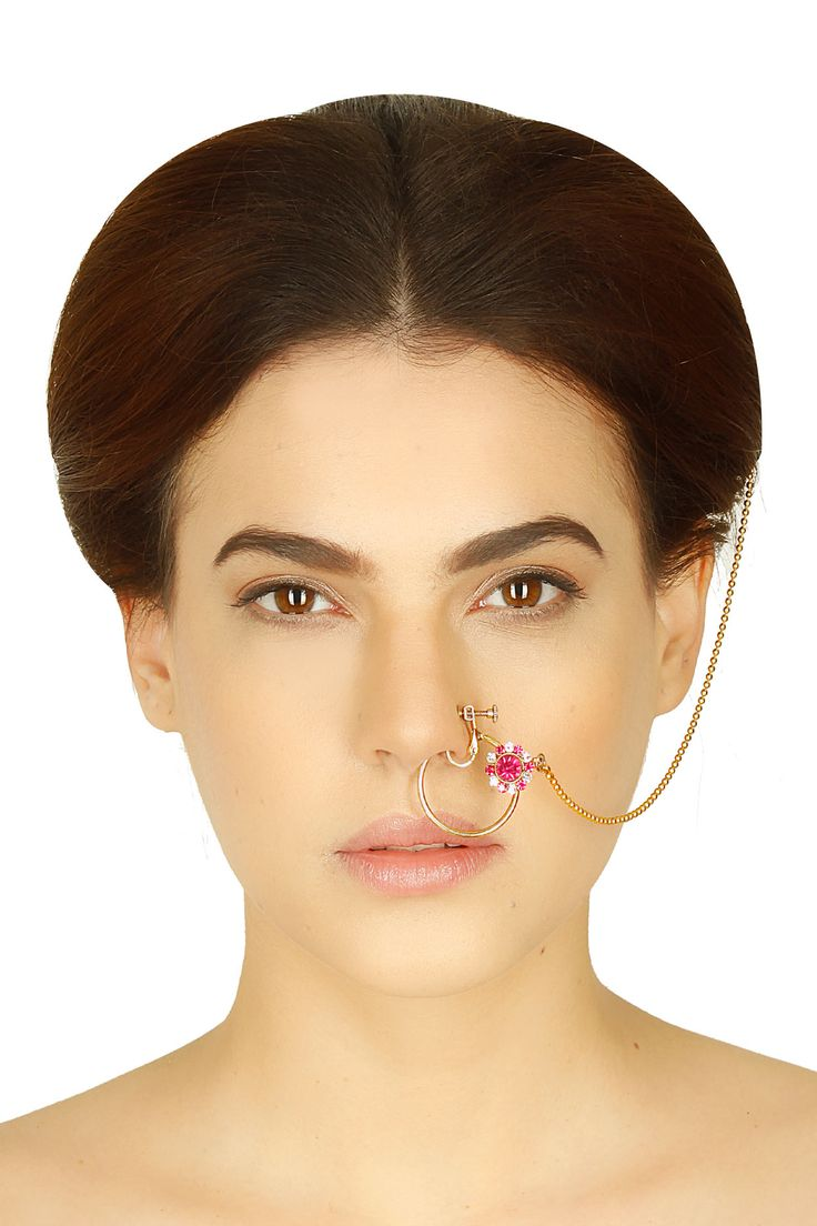 Gold finish purple floral motif nose ring/nath available only at Pernia's Pop Up Shop.