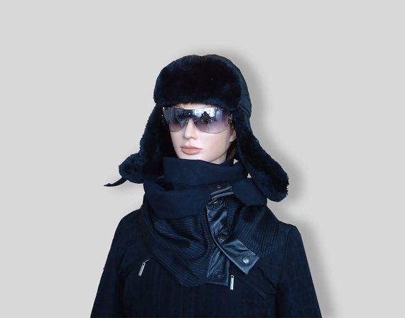 Black Blue Men Women Unisex Wool Scarf Cozy Cowl by JoliefleurDeco
