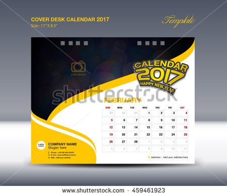FEBRUARY Desk Calendar 2017 Template Flyer Design Vector  Calendar Sample Design