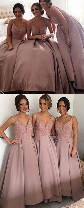 Dusty Pink Bridesmaid Dresses,Elegant Strap V-Neck Bridesmaid Gown,Floor-Length Bridesmaid Dress with Beaded,Long Fashion Prom Dress
