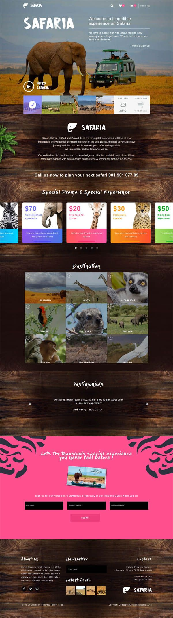 Safaria - Safari & Zoo WordPress Theme #bestfor2017 #wordpressthemes #css3 #framework #html5 #responsivedesign