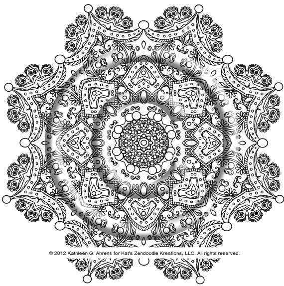 instant download coloring page hand drawn zentangle inspired the crown very intricate mandala hippie - Intricate Mandalas Coloring Pages