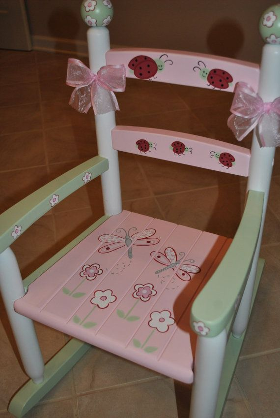 Kids Custom Hand Painted Lady Bug Dragonfly and Floral Pink and Green Girls Rocking Chair