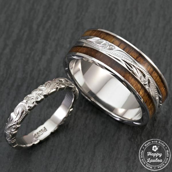 pair of hand engraved platinum and sterling silver wedding ring set with hawaiian koa wood inlay - Silver Wedding Ring