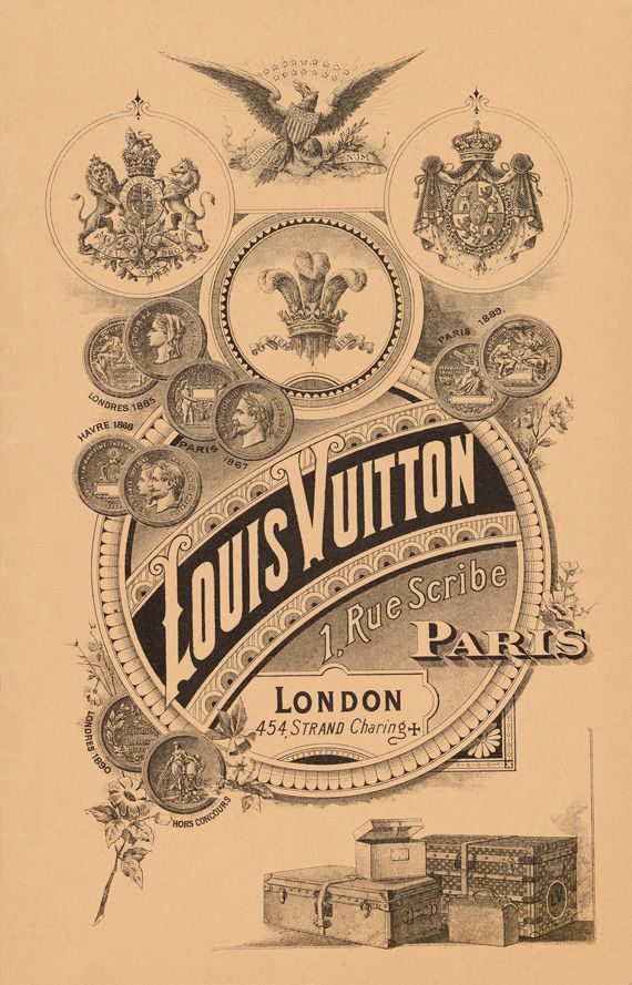 19th century poster advertising Louis Vuitton's flagship at 1 Rue Scribe and its London location on Charing Cross Rd.