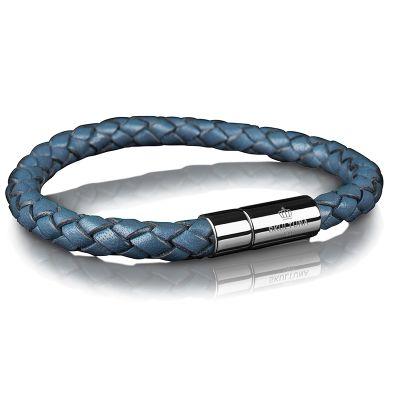 SKULTUNA  SKULTUNA LEATHER BRACELET PLAITED BLUE  €60  Skultuna stylish mens bracelet is made of braided leather and has a buckle of steel on which Skultuna emblem embedded on it.